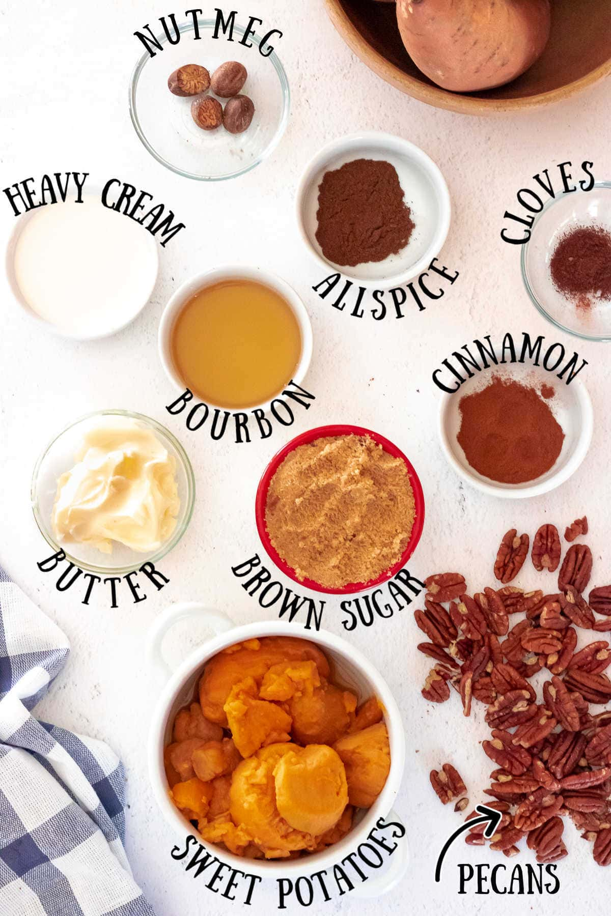 Labeled ingredients for sweet potato crunch recipe.