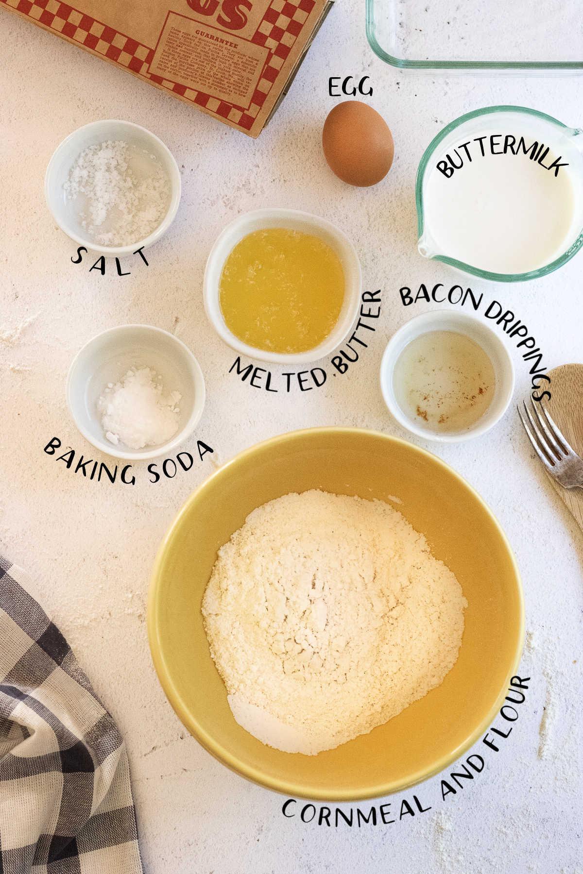 Ingredients for cornbread.