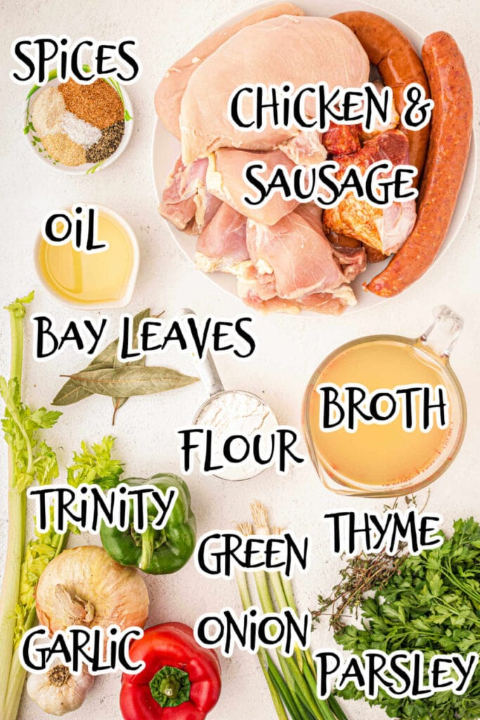 Chicken and Sausage Gumbo ingredients,