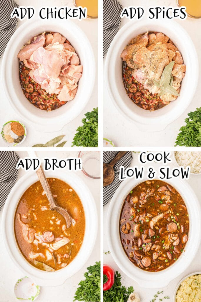 4 Steps in cooking a Gumbo 5. Add Chicken 6. Add Spices 7. Add Broth 8. Cook low and slow