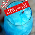 Blue vodka cocktail with text overlay for Pinterest.