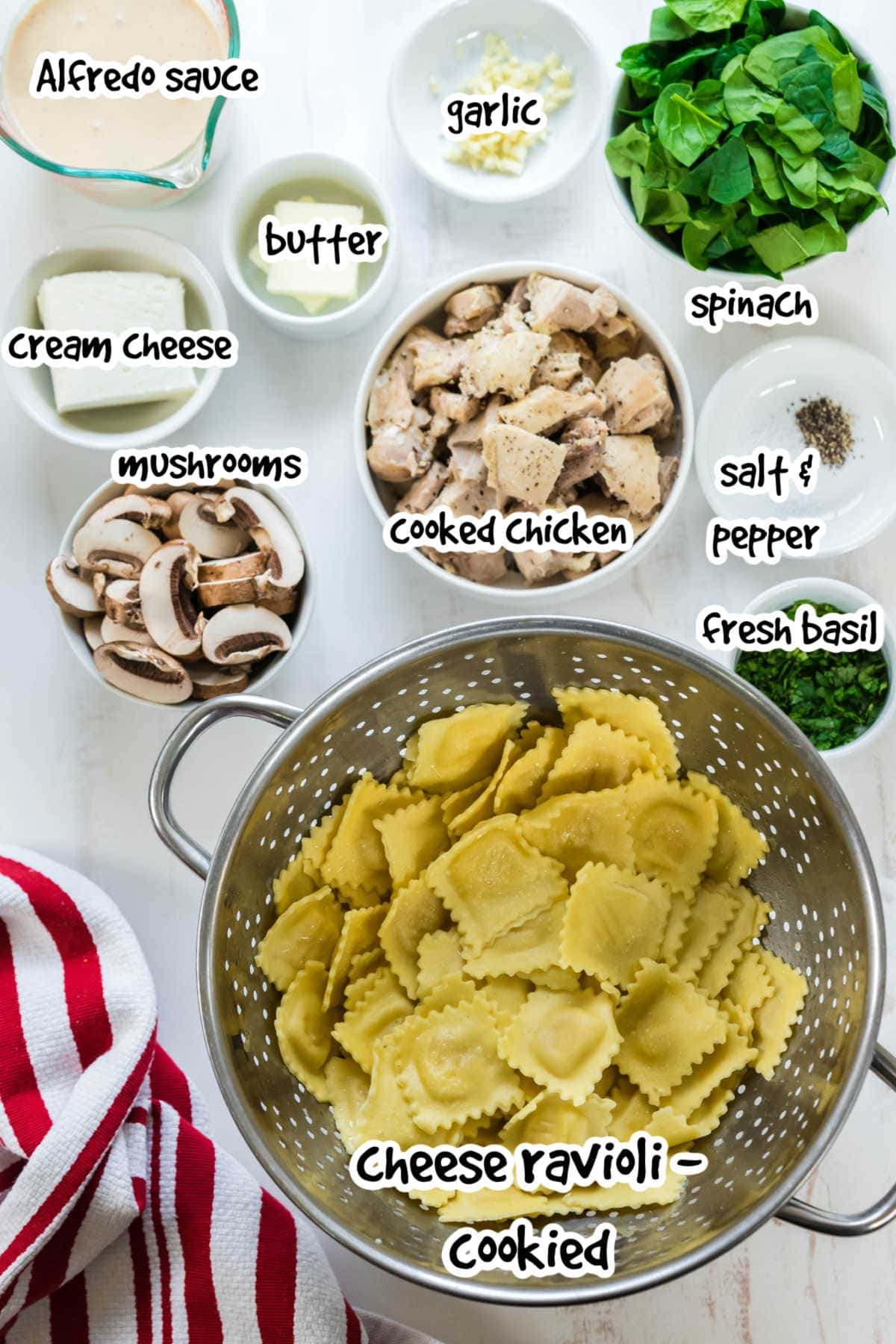 Labeled ingredients for the chicken Alfredo ravioli recipe.