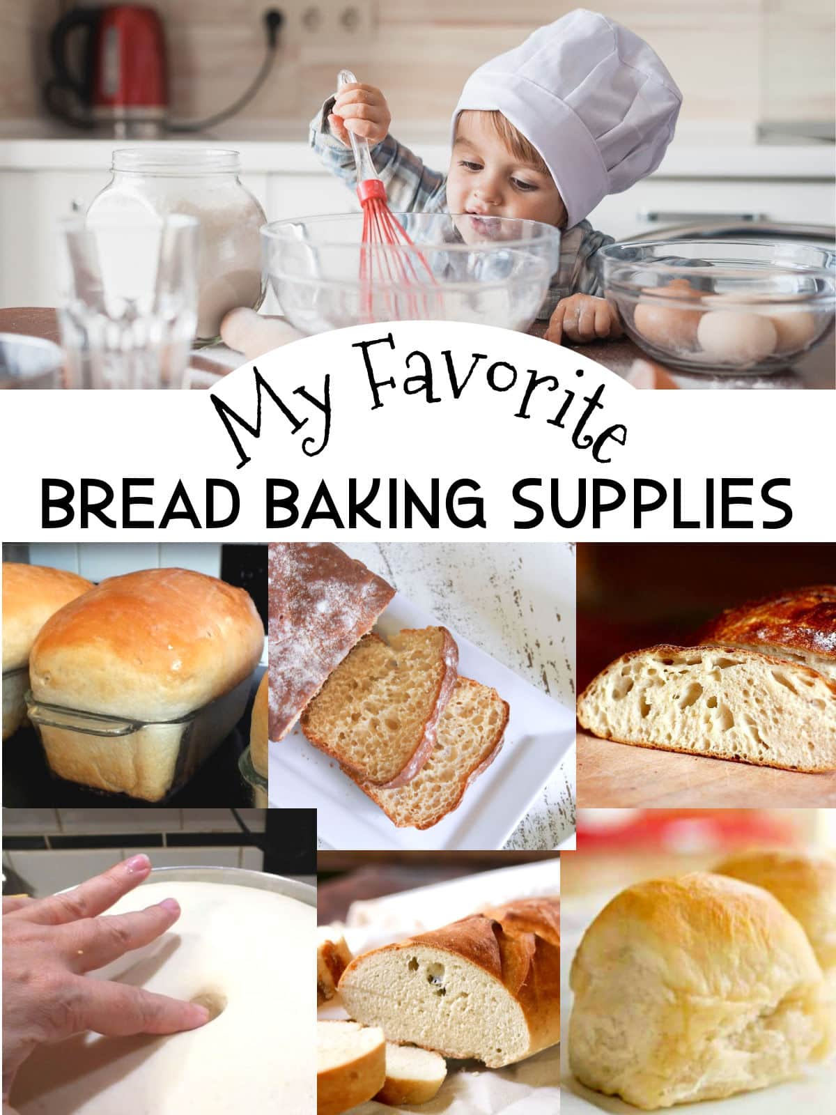 Collage of breads with text overlay for title.