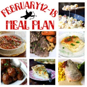 A collage of images for the February 12-18 meal plan.