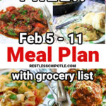 A collage with ALL the main dishes from the February 5-11 meal plan.