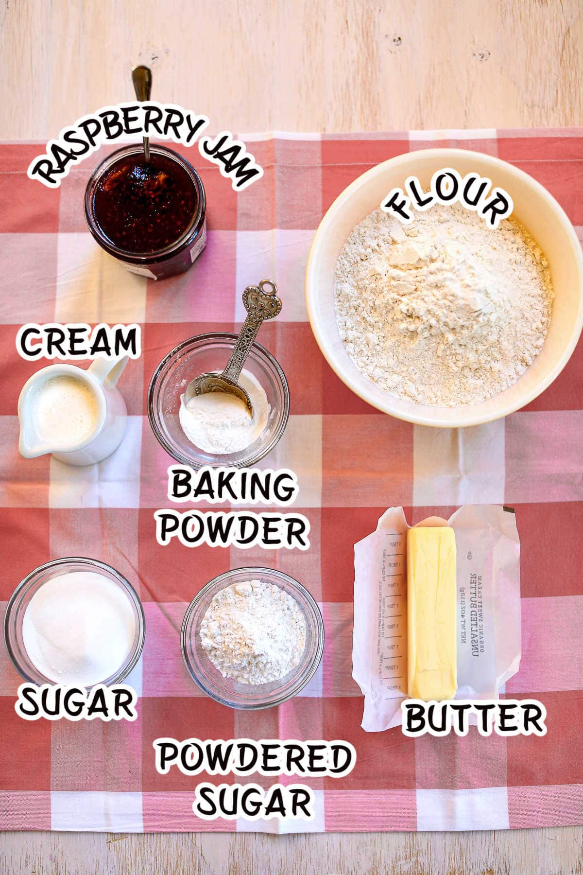 Labeled ingredients for raspberry thumbprint scones.