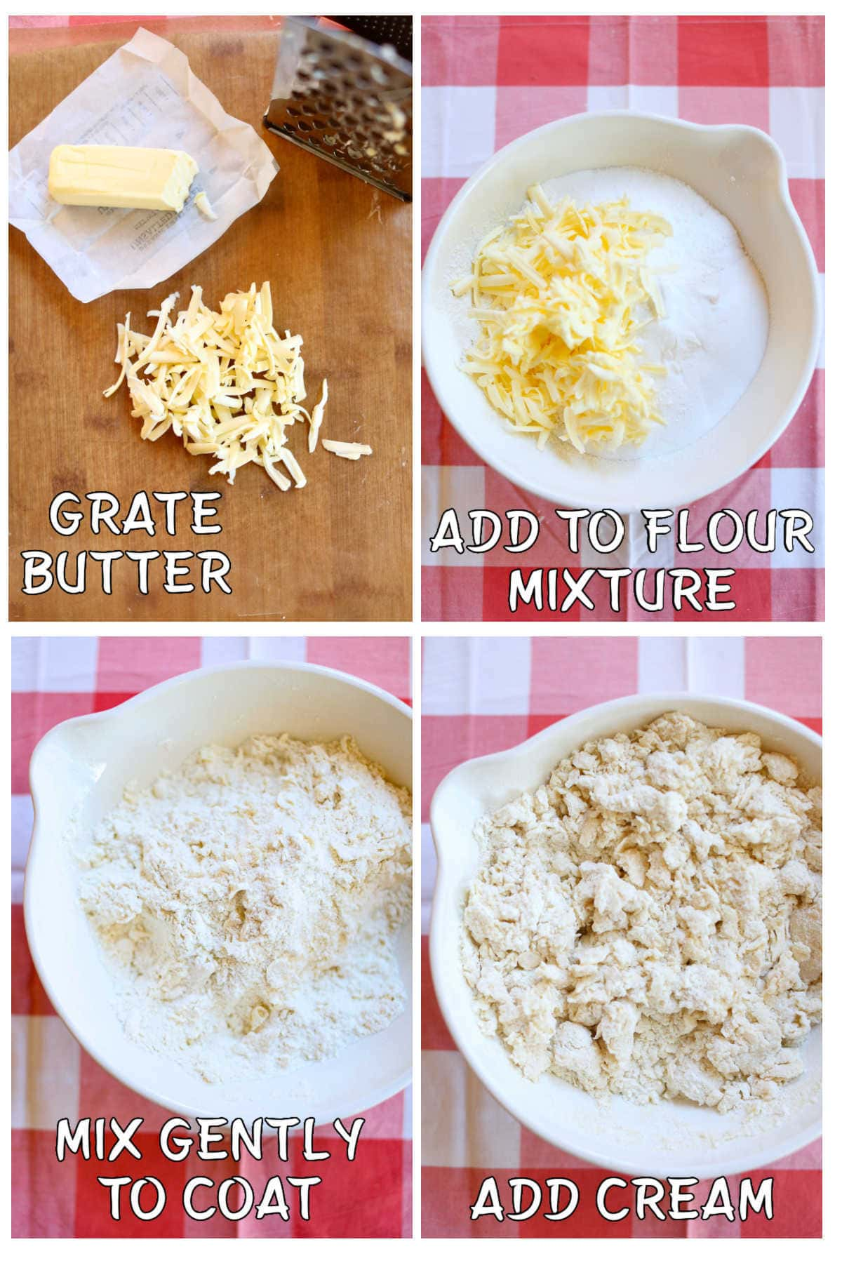 Step by step images in a collage of how to mix the dough for scones.