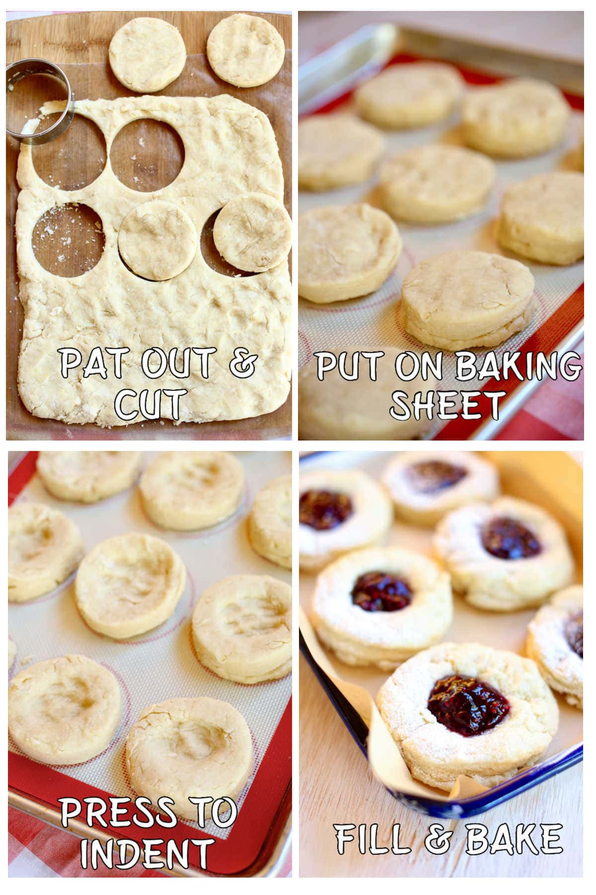Collage of the four steps to shaping these scones.