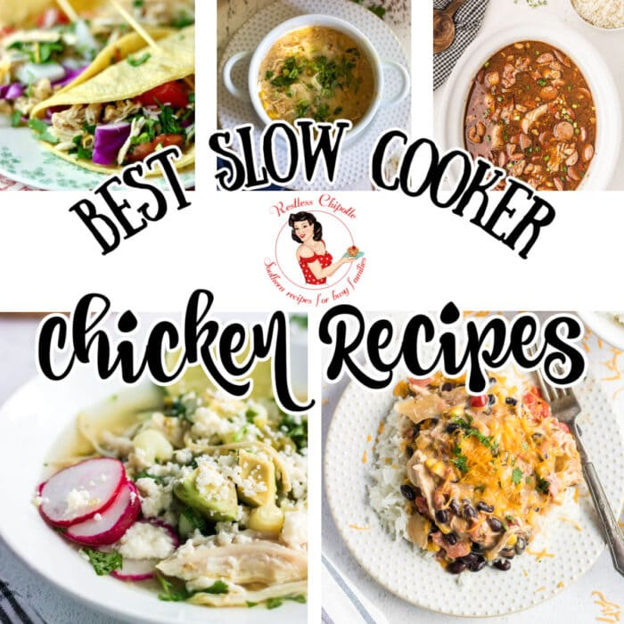 Collage of 5 easy slow cooker chicken recipes with text overlay.