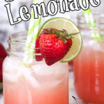 Two Mason jars of lemonade cocktail with title text for Pinterest.