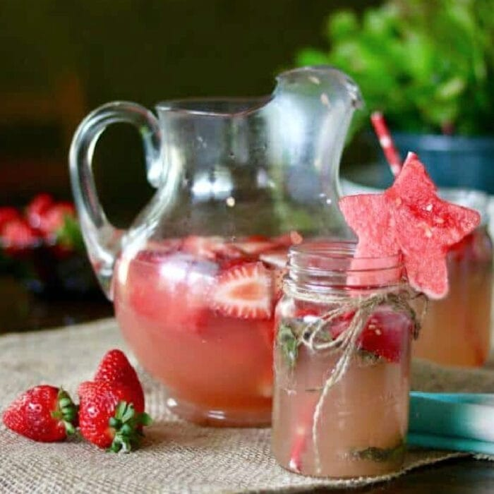 A pitcher of strawberry watermelon margaritas.