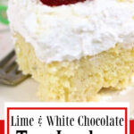Close up of tres leches cake with a title text overlay for Pinterest.