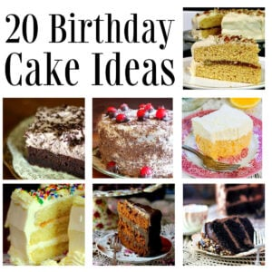 Collage of birthday cake images with title text overlay.