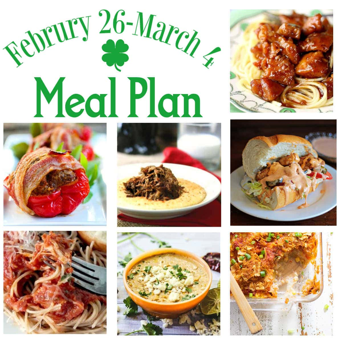 A collage of images from the main dishes in this week's meal plan.