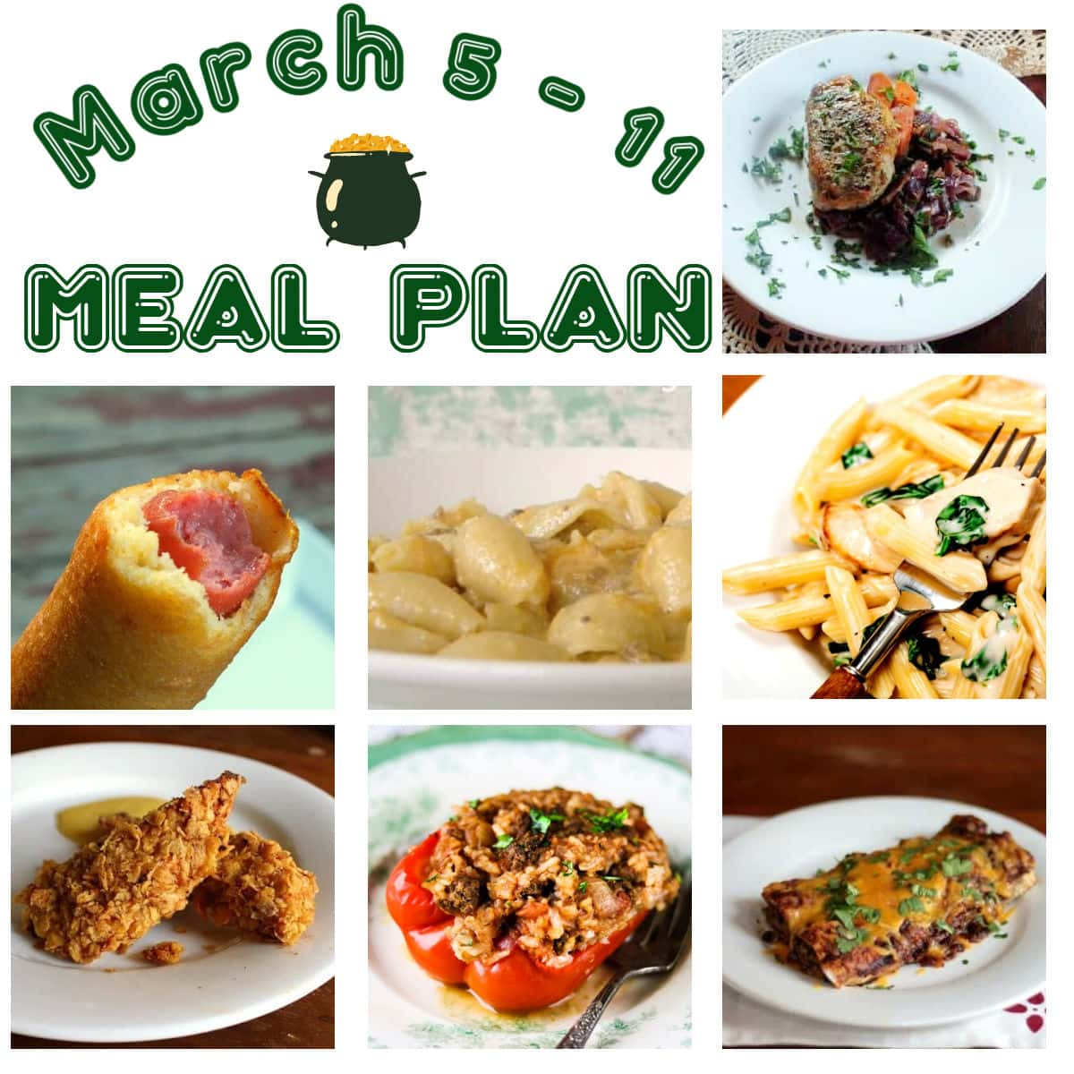 A collage of main dishes for meal plan 10.