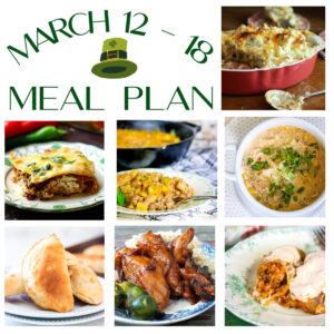 Collage of main dishes from the March 12-18 meal plan.