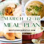 Collage of images for the March 12-18 menu plan.