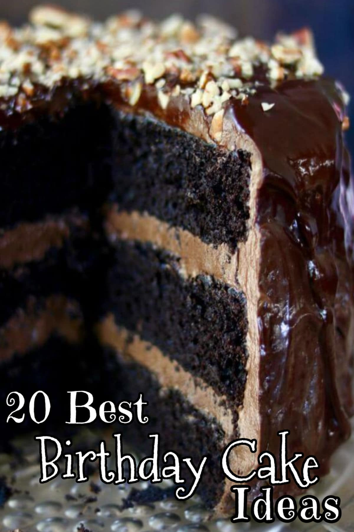 A triple chocolate layer cake with chocolate icing. Title text overlay.