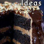 Chocolate layer cake with title text overlay for pinning to Pinterest.