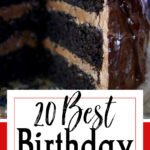 Chocolate layer cake with title text overlay for Pinterest.