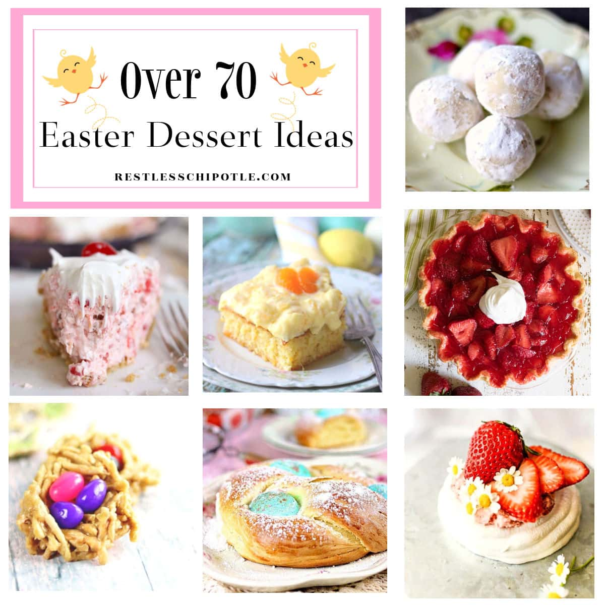A collage of Easter desserts with title text overlay.