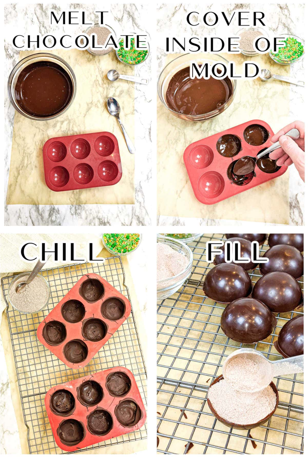 Step by step images to make the hot chocolate bombs shell.