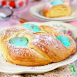 A wreath of Italian Easter bread in the center of the table.