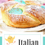 Easter egg bread on a plate with stylized text overlay for Pinterest.