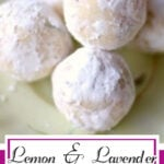 White chocolate truffles on a plate. Title text overlay for Pinterest.