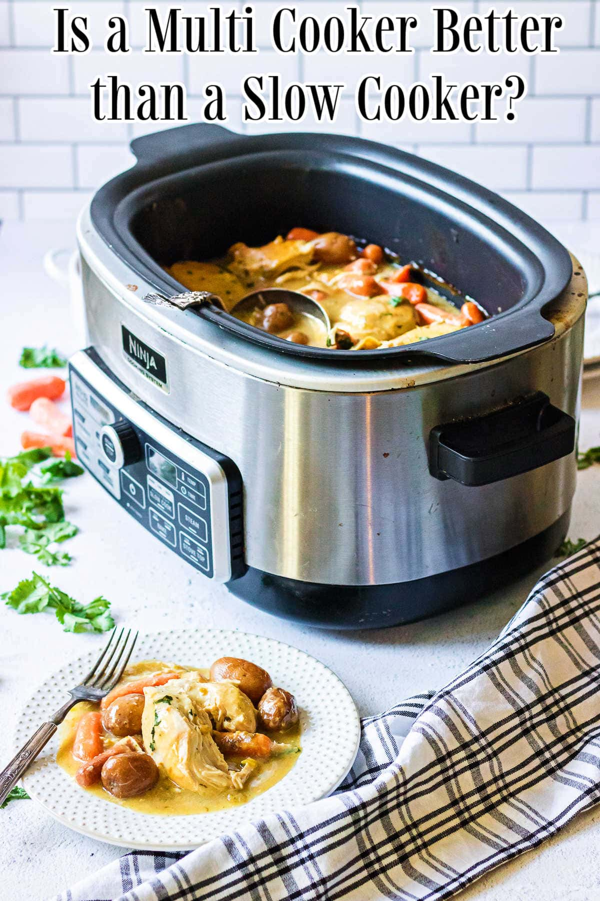 A multi-cooker filled with chicken stew.