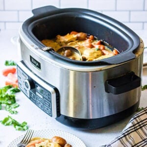 A closeup of a multi-cooker with dinner all finished.