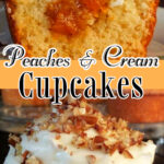 Collage of peach cupcakes with text overlay for Pinterest.