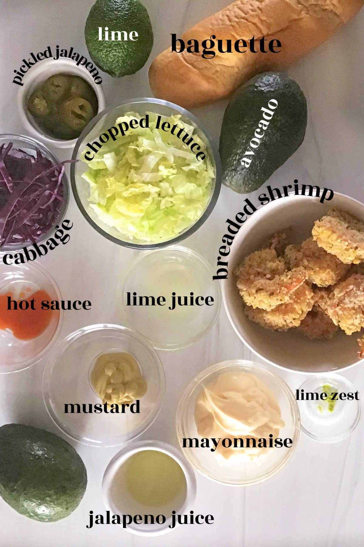 Ingredients for po boy sandwich.