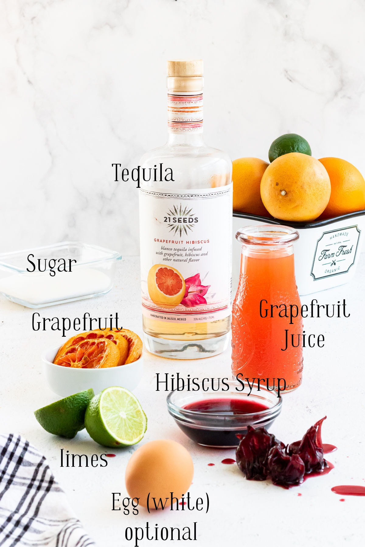 Labeled ingredients for the tequila sour.