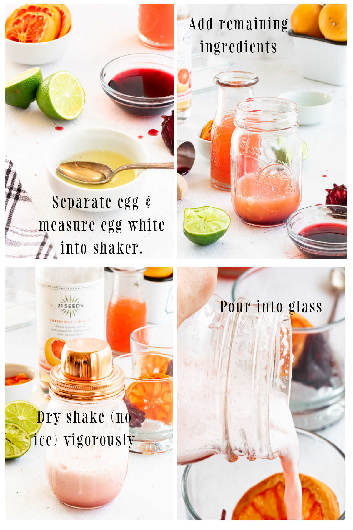 Step by step images for making an easy tequila sour.
