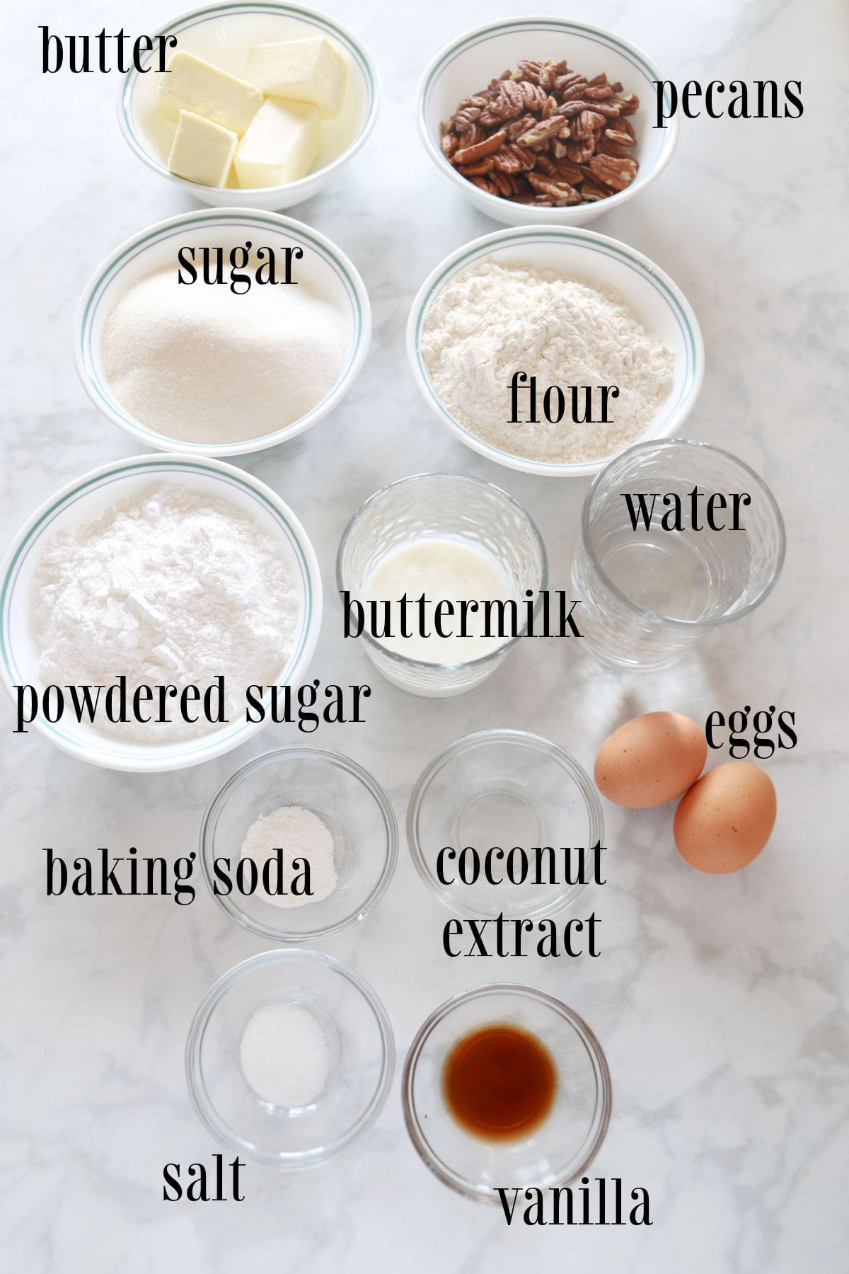 Labeled ingredients for white Texas sheet cake.