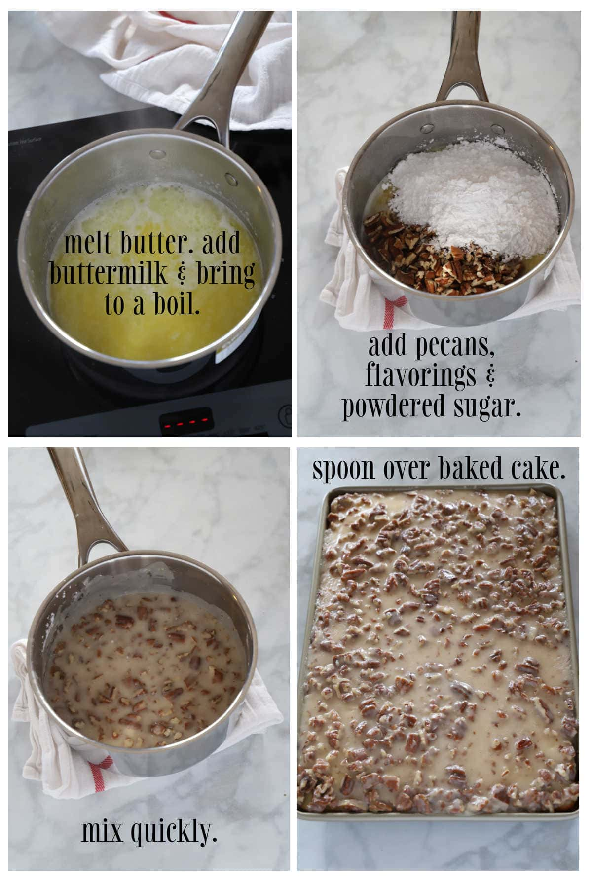 Step by step image for making the icing for white Texas sheet cake.