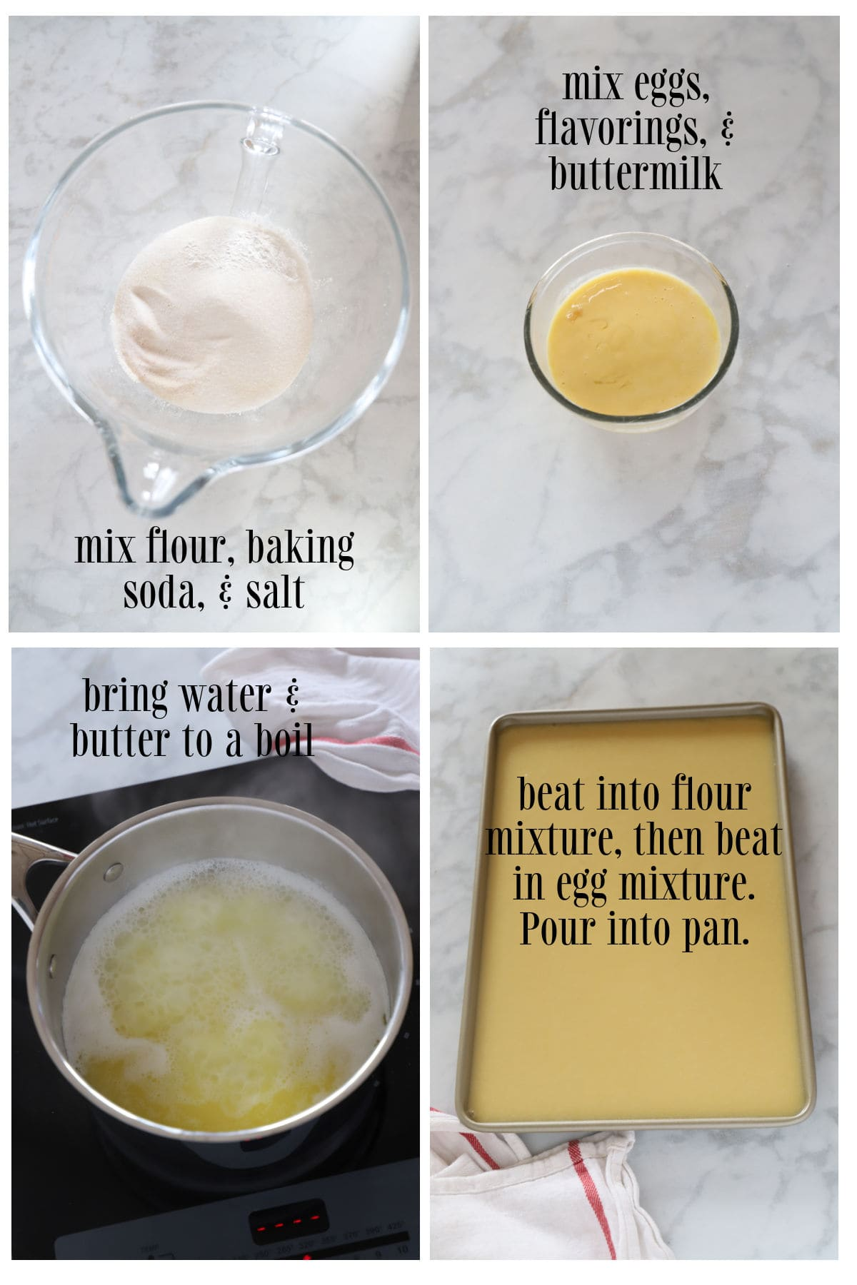 Step by step images for making white Texas sheet cake.