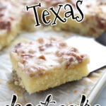 A square of white Texas sheet cake in a baking pan.