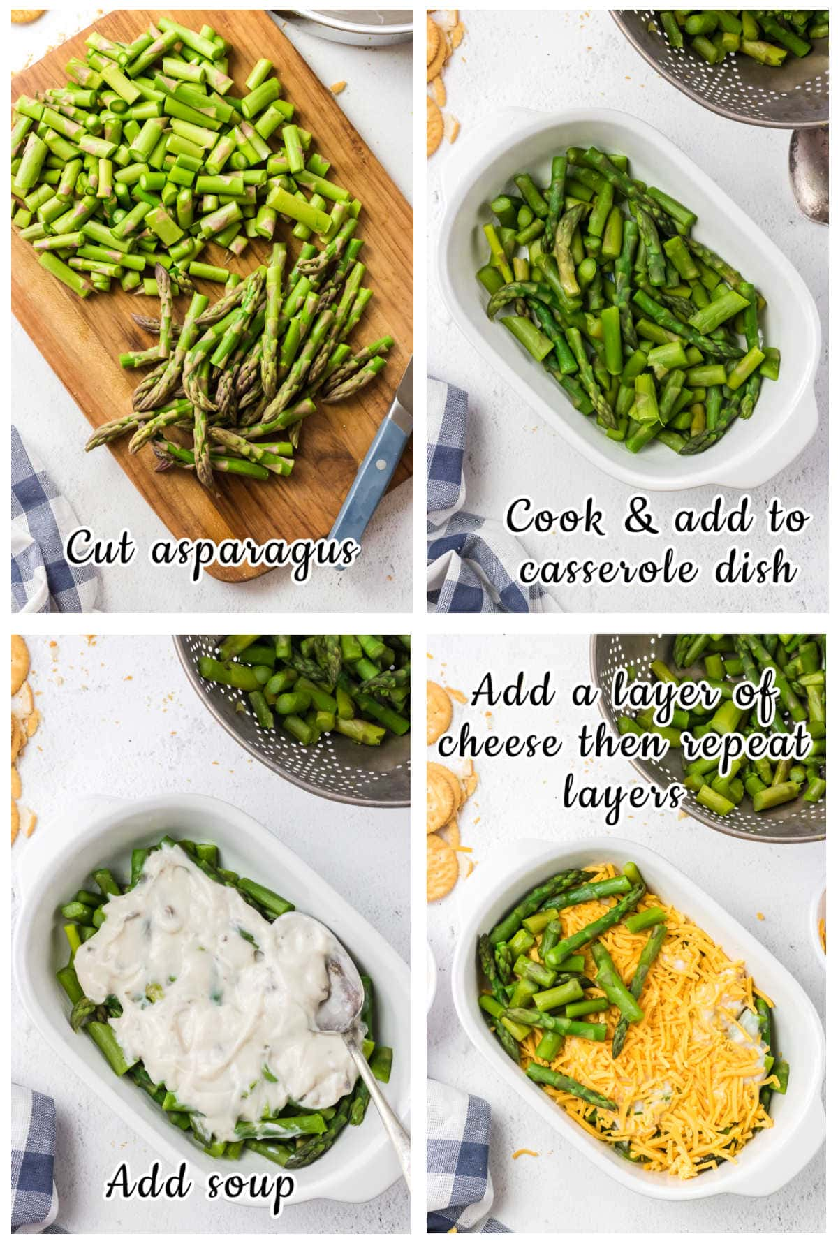 Step by step images showing how to make asparagus casserole.