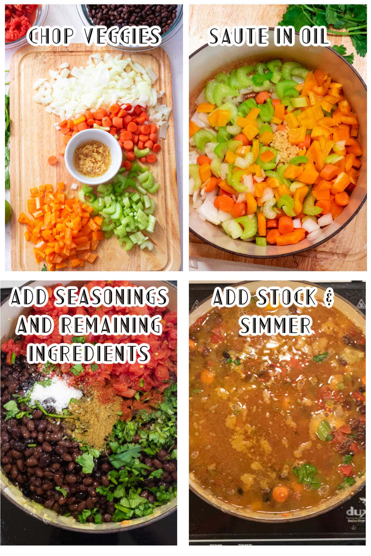 Step by step images showing how to make black bean soup.