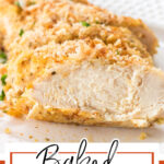 A close up of a piece of chicken sliced open to see the juicy interior. Title text overlay for Pinterest.