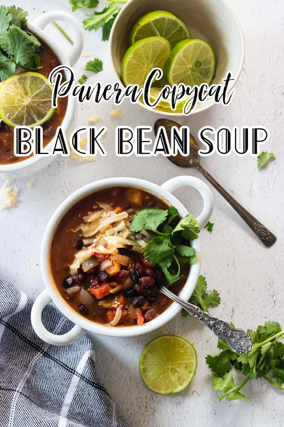 A bowl of black bean soup with title text overlay.