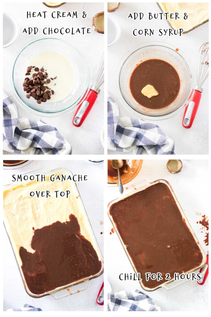 Step by step images for making chocolate ganache for the cake.