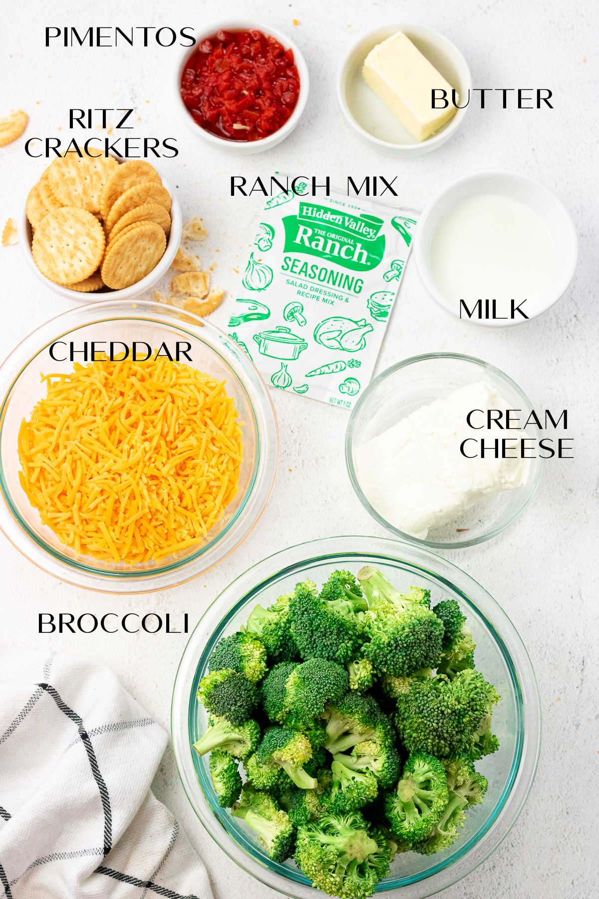 Ingredients for the broccoli cheese casserole.