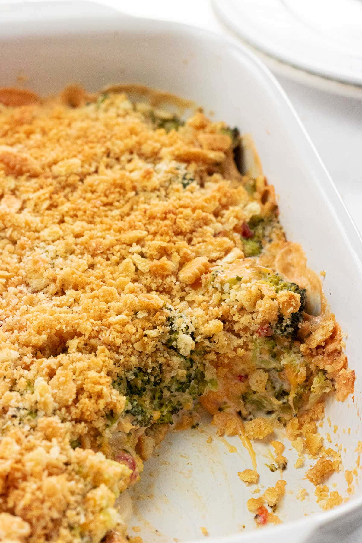 Casserole with a serving removed.