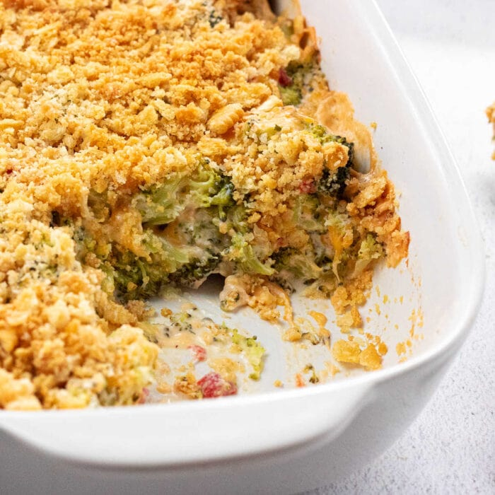Closeup of the broccoli cheese casserole showing the texture of the topping.