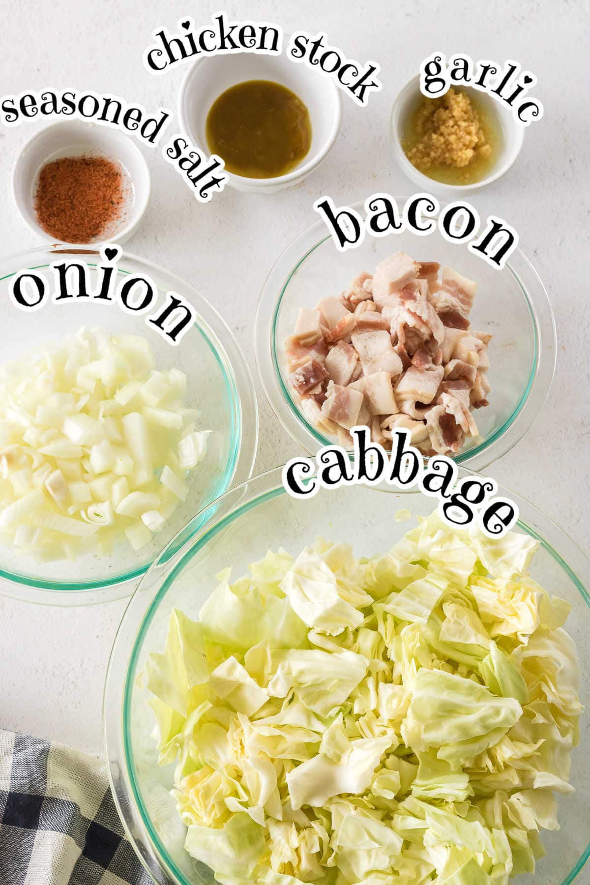 Labeled ingredients for fried cabbage recipe.