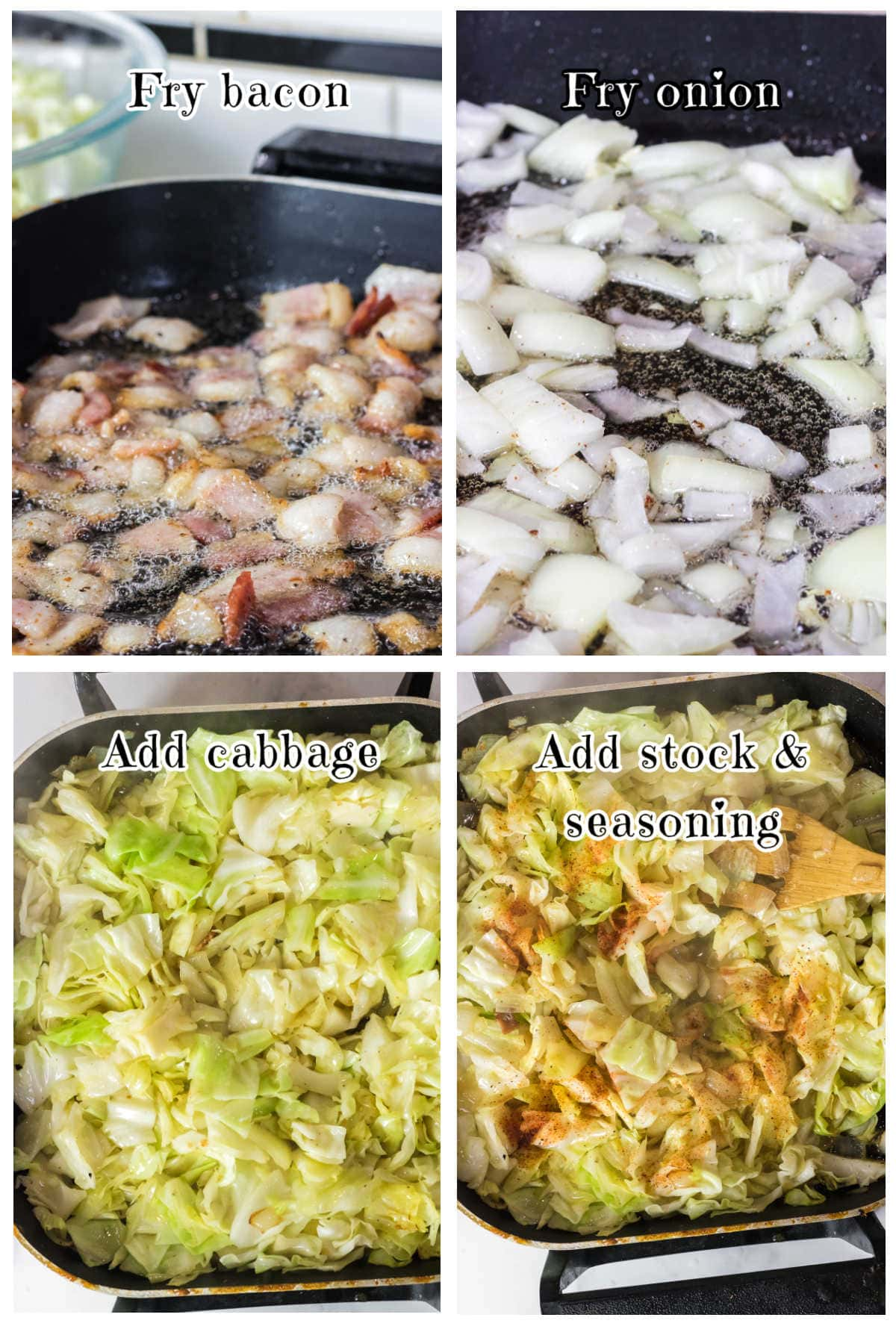 Collage of step by step images for making this fried cabbage recipe.