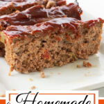 Closeup of sliced meatloaf glazed with a sweet sauce. Text overlay for pinning to Pinterest.